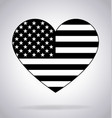 american flag in heart shape black and white vector image vector image