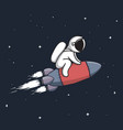 baby astronaut flying on rocket vector image vector image