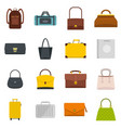 bag baggage suitcase icons set in flat style vector image vector image
