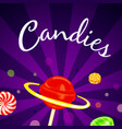 candies concept background cartoon style vector image vector image