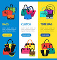 cartoon handbag or female bags banner vecrtical vector image vector image