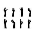 cartoon silhouette black zombie hand icons set vector image vector image