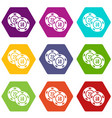 casino chip icons set 9 vector image vector image