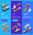 commercial sea ships signs 3d banner vecrtical set vector image vector image