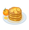 delicious pancakes or oladyi topped with syrup and vector image vector image