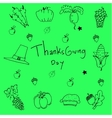 Doodle of thanksgiving on green backgrounds vector image vector image
