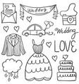 doodle of wedding element various vector image vector image