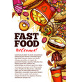 fast food restaurant banner with takeaway menu vector image vector image