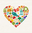 food icon heart shape for health concept vector image vector image