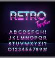 futuristic retro typeface 80s style alphabet vector image