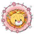 greeting card cute cartoon lion vector image vector image