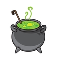 Halloween cartoon kettle with potion isolated on vector image vector image