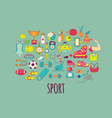 hand drawn fitness and sport doodle icons vector image vector image