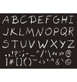 Hand written chalk uppercase english alphabet vector image