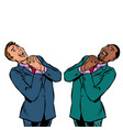happy two businessman african and caucasian vector image vector image