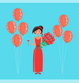 happy woman holding balloons and rose bouquet vector image vector image