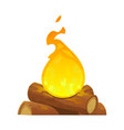 isolated cartoon camp bonfire on white background vector image vector image