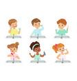 kids brushing teeth set cute boys and girls vector image vector image