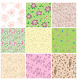 light and dark seamless patterns with flowers vector image vector image