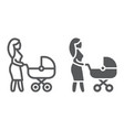 mom with carriage line and glyph icon care and vector image vector image