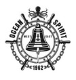 nautical black emblem with ship bell vector image vector image