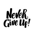 never give up hand written brush calligraphy type vector image