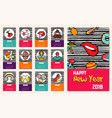 new year 2018 comic patch icon set calendar vector image
