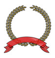 olive branch crown closeup with ribbon on bottom vector image vector image