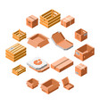 packing box icon set isometric 3d style vector image vector image