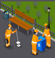 park cleaning team composition vector image vector image