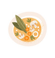 plate of tasty soup with mushrooms and carrot top vector image