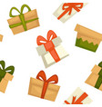 present boxes with ribbon bows seamless pattern vector image