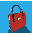 realistic red bag with handles on blue background vector image vector image