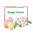 rectangular frame with flowers and eggs vector image