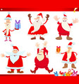 santa claus on christmas time cartoon set vector image