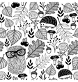 Seamless pattern with forest plants and animals vector image vector image