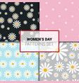 seamless patterns set with chamomile flowers vector image