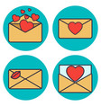 set of love letter envelope with heart vector image vector image