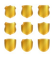 shield gold icons set shape emblem vector image