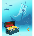 Ship wreck with treasure chest vector image