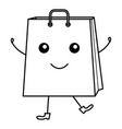shopping bag comic character vector image