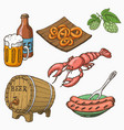 sketch style set beer and snacks vector image