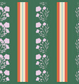 stylized lavander flowers on striped forest green vector image vector image