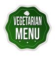 vegetarian menu label or sticker on white vector image vector image