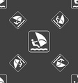 Windsurfing sign Seamless pattern on a gray vector image vector image
