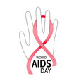 world aids day hand with abstract red ribbon vector image vector image