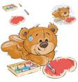a brown teddy bear paints a vector image