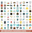 100 industrial business icons set flat style vector image vector image