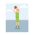 a young american basketball player in green vector image vector image