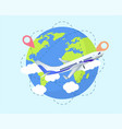 airplane travel concept with world globe vector image